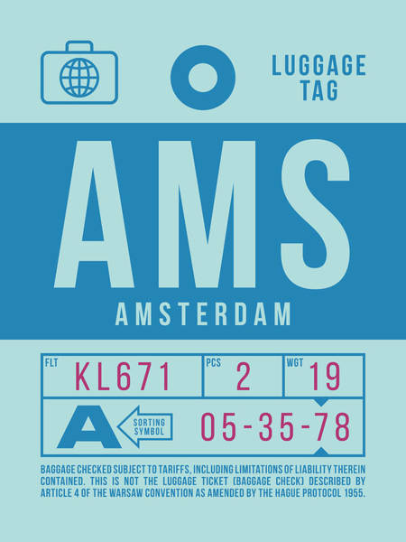 Wall Art - Digital Art - Retro Airline Luggage Tag 2.0 - Ams Amsterdam Netherlands by Ivan Krpan