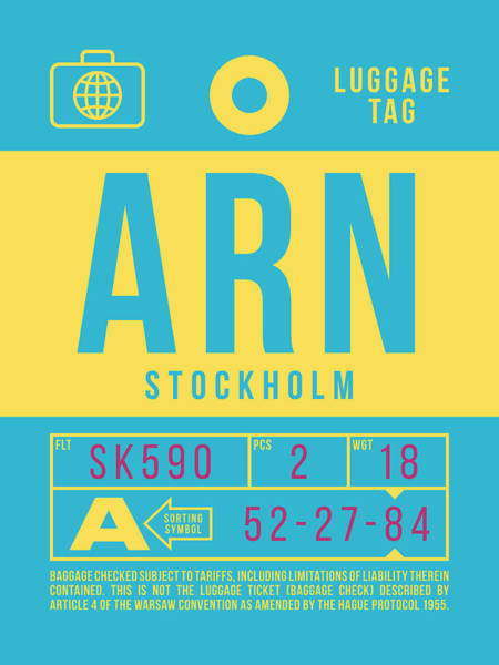 Wall Art - Digital Art - Retro Airline Luggage Tag 2.0 - Arn Stockholm Sweden by Ivan Krpan