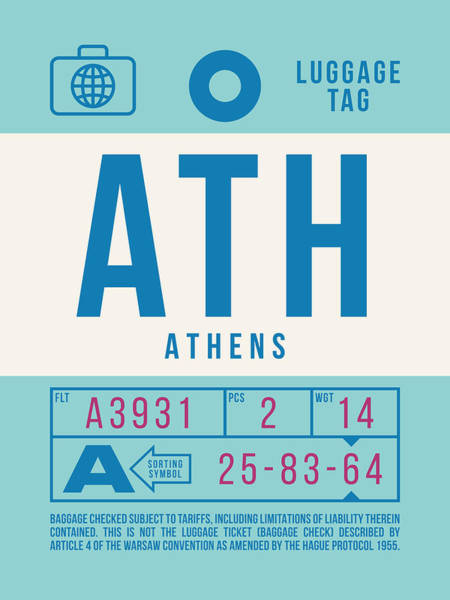 Wall Art - Digital Art - Retro Airline Luggage Tag 2.0 - Ath Athens Greece by Ivan Krpan