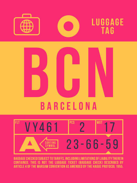 Wall Art - Digital Art - Retro Airline Luggage Tag 2.0 - Bcn Barcelona Spain by Ivan Krpan