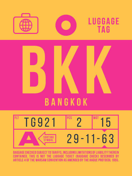 Wall Art - Digital Art - Retro Airline Luggage Tag 2.0 - Bkk Bangkok Thailand by Ivan Krpan