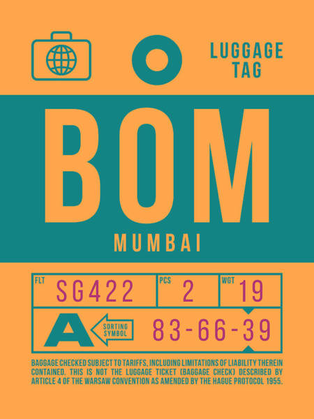 Wall Art - Digital Art - Retro Airline Luggage Tag 2.0 - Bom Mumbai India by Ivan Krpan