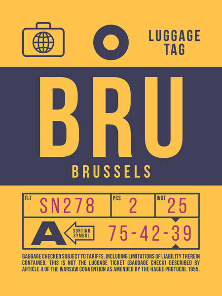 Wall Art - Digital Art - Retro Airline Luggage Tag 2.0 - Bru Brussels Belgium by Ivan Krpan