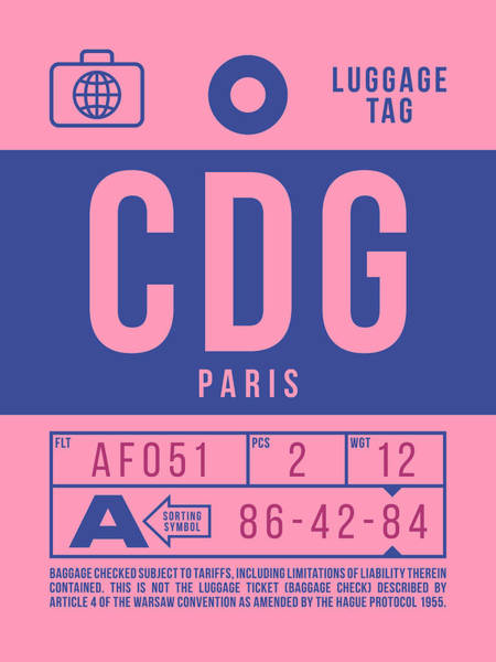 60s Digital Art - Retro Airline Luggage Tag 2.0 - Cdg Paris Charles De Gaulle France by Ivan Krpan