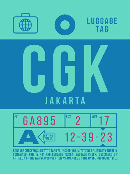 Wall Art - Digital Art - Retro Airline Luggage Tag 2.0 - Cgk Jakarta Indonesia by Ivan Krpan