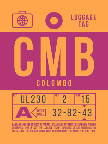 Wall Art - Digital Art - Retro Airline Luggage Tag 2.0 - Cmb Colombo Airport Sri Lanka by Ivan Krpan