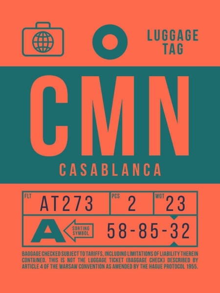 Wall Art - Digital Art - Retro Airline Luggage Tag 2.0 - Cmn Casablanca Morocco by Ivan Krpan