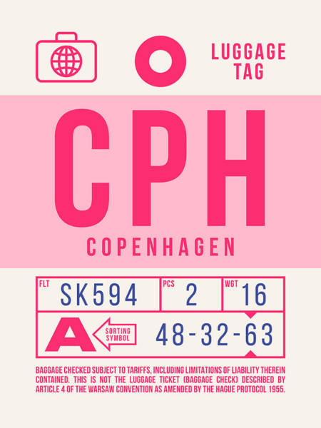 Wall Art - Digital Art - Retro Airline Luggage Tag 2.0 - Cph Copenhagen Denmark by Ivan Krpan