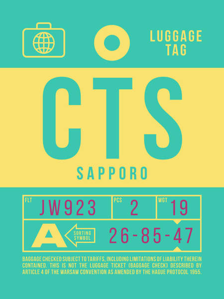 Wall Art - Digital Art - Retro Airline Luggage Tag 2.0 - Cts Sapporo Japan by Ivan Krpan