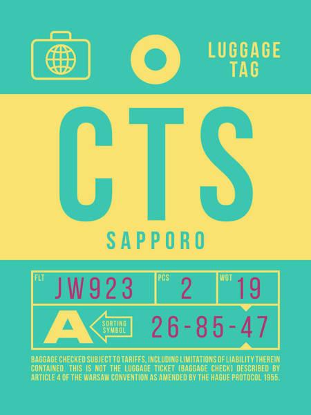 Wall Art - Digital Art - Retro Airline Luggage Tag 2.0 - Cts Sapporo Japan by Ivan Krpan