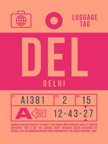 Wall Art - Digital Art - Retro Airline Luggage Tag 2.0 - Del Delhi India by Ivan Krpan