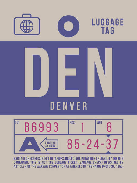 Den Digital Art - Retro Airline Luggage Tag 2.0 - Den Denver United States by Ivan Krpan