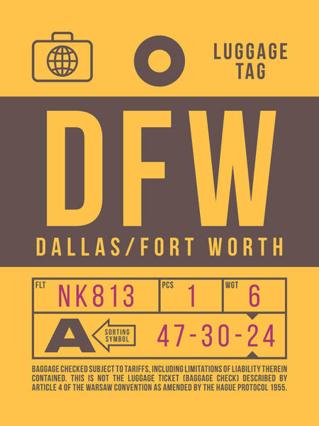 Wall Art - Digital Art - Retro Airline Luggage Tag 2.0 - Dfw Dallas Fort Worth United States by Ivan Krpan