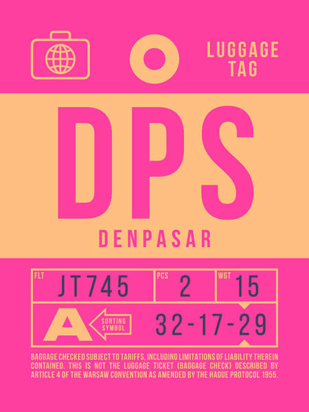 Indonesia Digital Art - Retro Airline Luggage Tag 2.0 - Dps Denpasar Bali Indonesia by Ivan Krpan