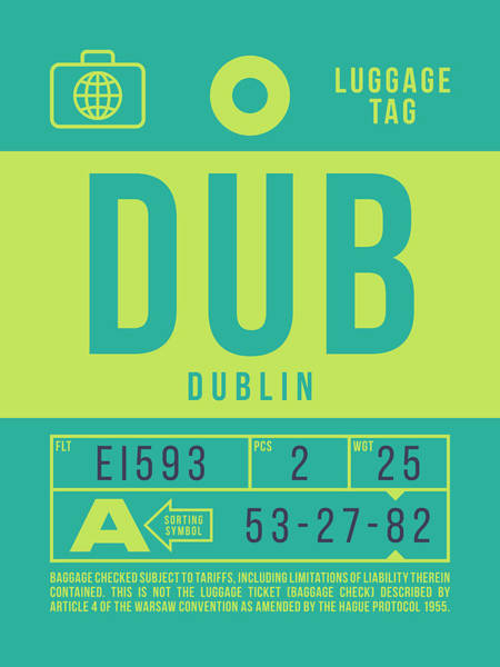 Wall Art - Digital Art - Retro Airline Luggage Tag 2.0 - Dub Dublin Ireland by Ivan Krpan