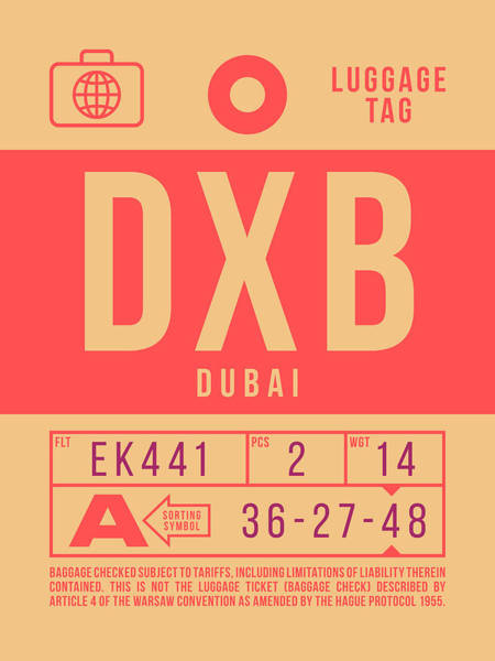Wall Art - Digital Art - Retro Airline Luggage Tag 2.0 - Dxb Dubai Uae by Ivan Krpan