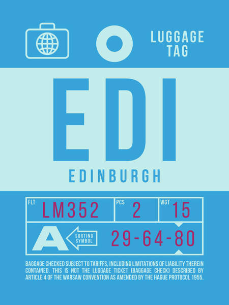 Wall Art - Digital Art - Retro Airline Luggage Tag 2.0 - Edi Edinburgh Airport Scotland by Ivan Krpan