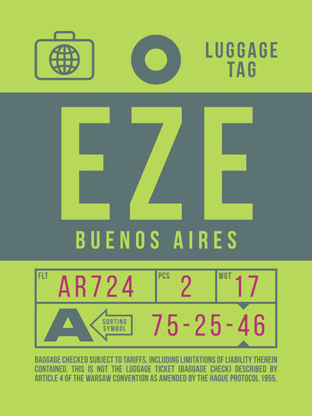 Wall Art - Digital Art - Retro Airline Luggage Tag 2.0 - Eze Buenos Aires Airport Argentina by Ivan Krpan