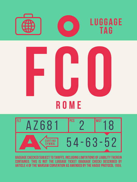 Wall Art - Digital Art - Retro Airline Luggage Tag 2.0 - Fco Rome Italy by Ivan Krpan
