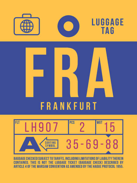 Wall Art - Digital Art - Retro Airline Luggage Tag 2.0 - Fra Frankfurt Germany by Ivan Krpan