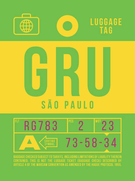 Wall Art - Digital Art - Retro Airline Luggage Tag 2.0 - Gru Sao Paulo Brazil by Ivan Krpan