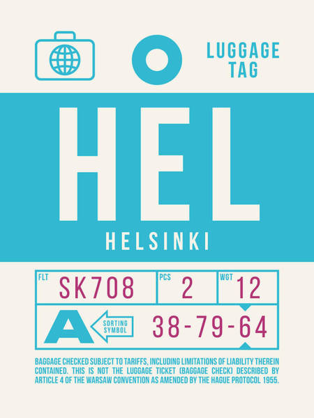 Wall Art - Digital Art - Retro Airline Luggage Tag 2.0 - Hel Helsinki Finland by Ivan Krpan