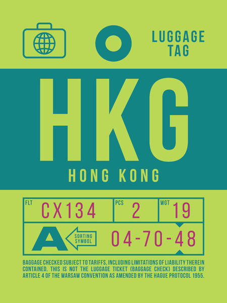 Hong Digital Art - Retro Airline Luggage Tag 2.0 - Hkg Hong Kong by Ivan Krpan