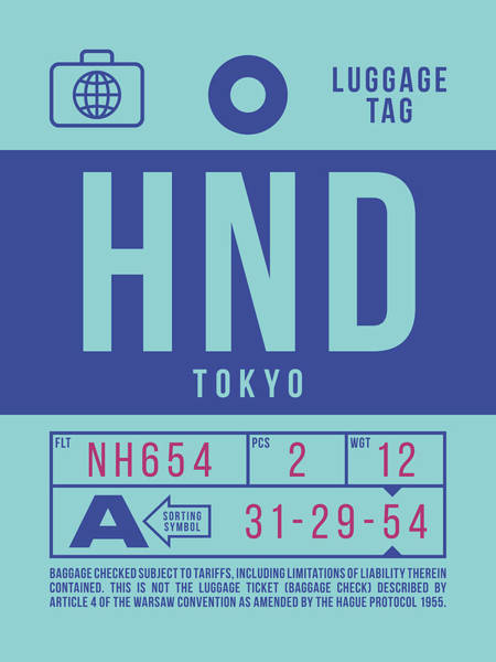 Wall Art - Digital Art - Retro Airline Luggage Tag 2.0 - Hnd Tokyo Haneda Japan by Ivan Krpan