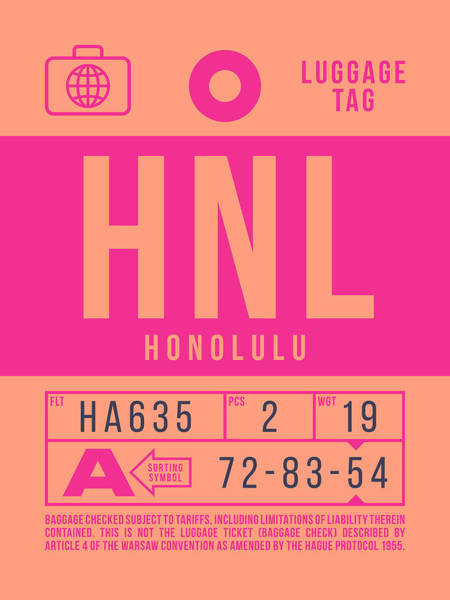 Wall Art - Digital Art - Retro Airline Luggage Tag 2.0 - Hnl Honolulu Hawaii by Ivan Krpan