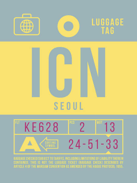 Wall Art - Digital Art - Retro Airline Luggage Tag 2.0 - Icn Seoul Korea by Ivan Krpan