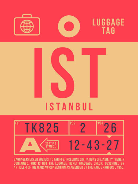 Turkey Digital Art - Retro Airline Luggage Tag 2.0 - Ist Istanbul Turkey by Ivan Krpan