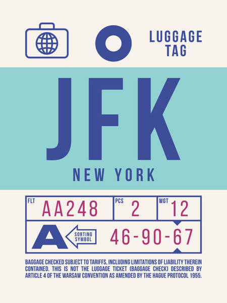 60s Digital Art - Retro Airline Luggage Tag 2.0 - Jfk New York United States by Ivan Krpan