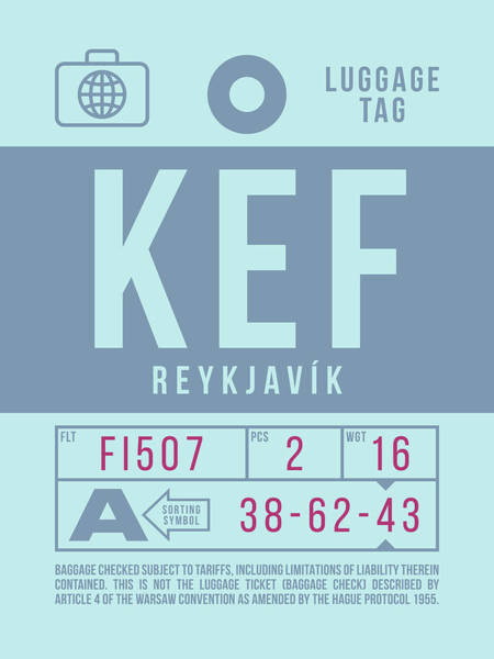 Wall Art - Digital Art - Retro Airline Luggage Tag 2.0 - Kef Reykjavik Keflavik Airport Iceland by Ivan Krpan