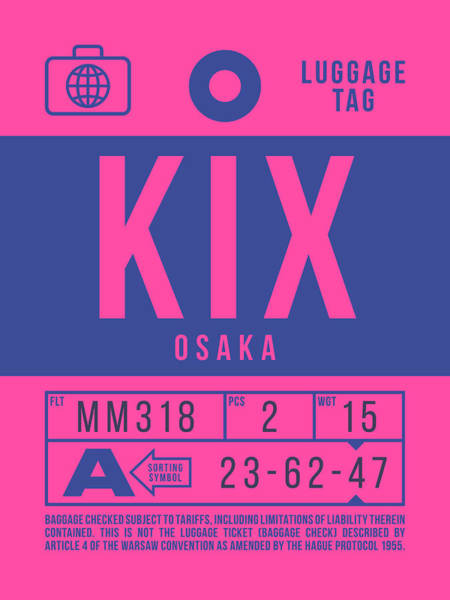 Wall Art - Digital Art - Retro Airline Luggage Tag 2.0 - Kix Osaka Kansai Japan by Ivan Krpan