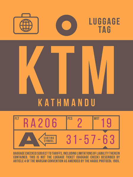 Wall Art - Digital Art - Retro Airline Luggage Tag 2.0 - Ktm Kathmandu Tribhuvan Nepal by Ivan Krpan