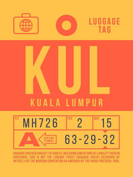 Wall Art - Digital Art - Retro Airline Luggage Tag 2.0 - Kul Kuala Lumpur International Malaysia by Ivan Krpan