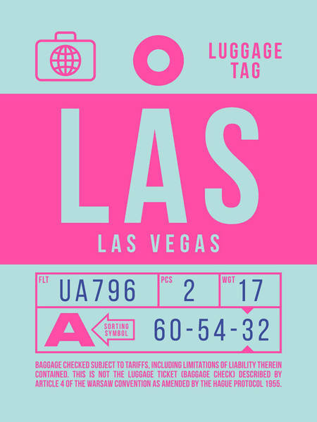 Wall Art - Digital Art - Retro Airline Luggage Tag 2.0 - Las Las Vegas Airport Usa by Ivan Krpan