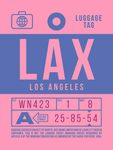Wall Art - Digital Art - Retro Airline Luggage Tag 2.0 - Lax Los Angeles International Airport United States by Ivan Krpan