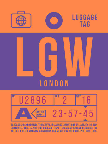 Wall Art - Digital Art - Retro Airline Luggage Tag 2.0 - Lgw London Gatwick Airport United Kingdom by Ivan Krpan