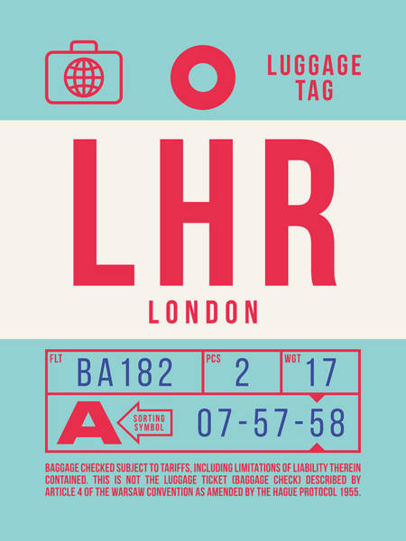 60s Digital Art - Retro Airline Luggage Tag 2.0 - Lhr London Heathrow Airport United Kingdom by Ivan Krpan