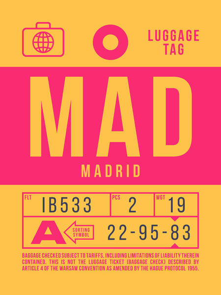 Wall Art - Digital Art - Retro Airline Luggage Tag 2.0 - Mad Madrid Barajas Airport Spain by Ivan Krpan