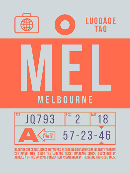 Wall Art - Digital Art - Retro Airline Luggage Tag 2.0 - Mel Melbourne Airport Australia by Ivan Krpan