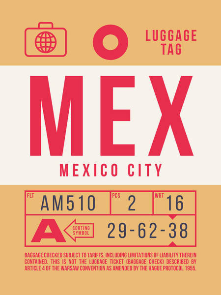 Wall Art - Digital Art - Retro Airline Luggage Tag 2.0 - Mex Mexico City International Airport Mexico by Ivan Krpan