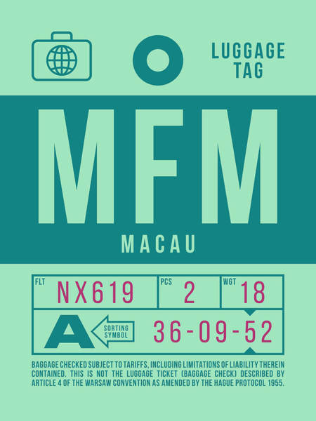 Wall Art - Digital Art - Retro Airline Luggage Tag 2.0 - Mfm Macau International Airport by Ivan Krpan