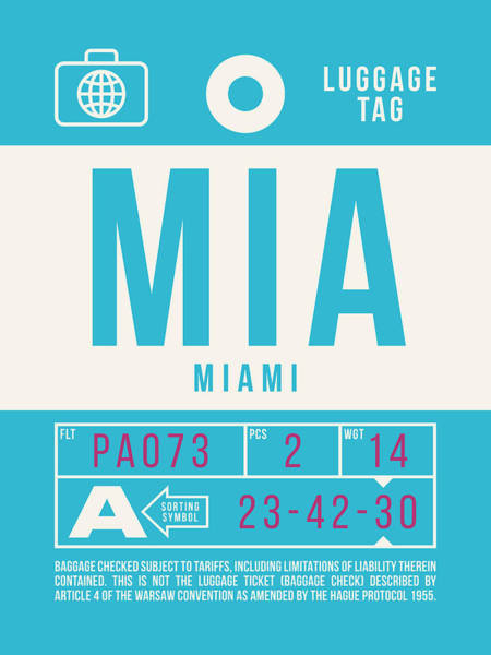 60s Digital Art - Retro Airline Luggage Tag 2.0 - Mia Miami International Airport United States by Ivan Krpan