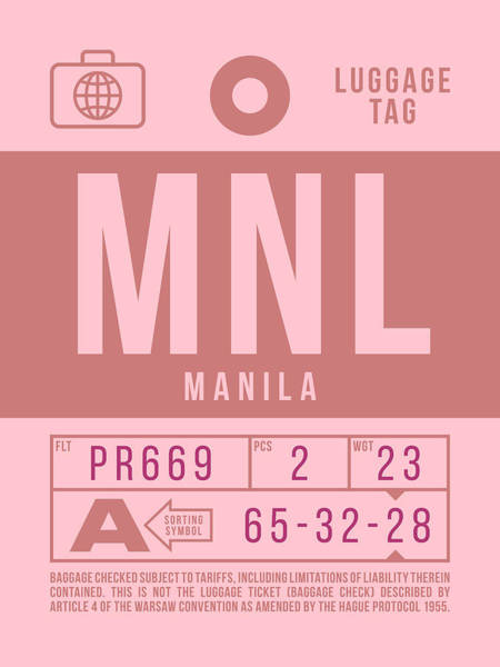 Wall Art - Digital Art - Retro Airline Luggage Tag 2.0 - Mnl Manila Aquino Airport Philippines by Ivan Krpan