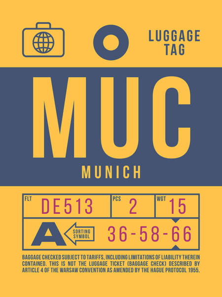 Wall Art - Digital Art - Retro Airline Luggage Tag 2.0 - Muc Munich International Airport Germany by Ivan Krpan