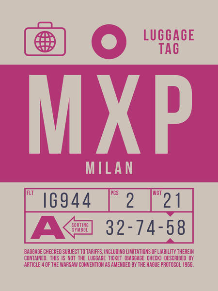 Wall Art - Digital Art - Retro Airline Luggage Tag 2.0 - Mxp Milan Airport Italy by Ivan Krpan