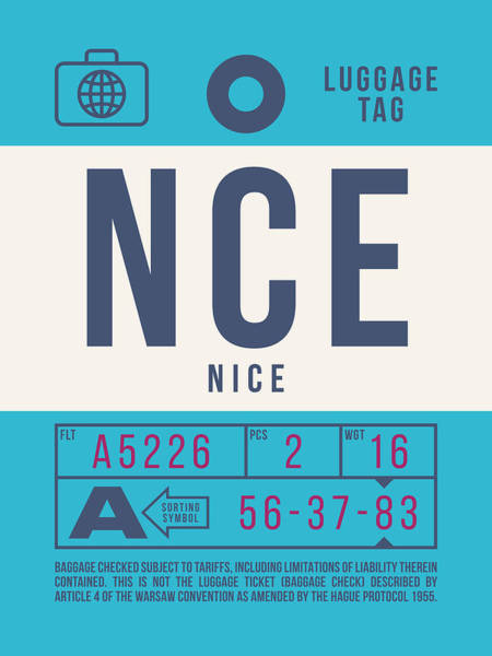Wall Art - Digital Art - Retro Airline Luggage Tag 2.0 - Nce Nice Cote D'azur Airport France by Ivan Krpan