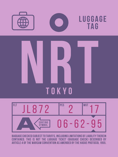 Wall Art - Digital Art - Retro Airline Luggage Tag 2.0 - Nrt Tokyo Narita Airport Japan by Ivan Krpan